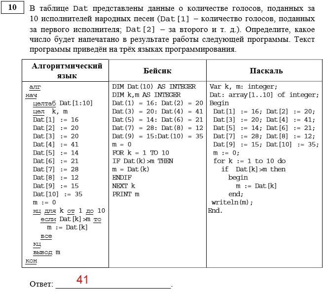 условие задачи 10 ОГЭ информатика 9 класс